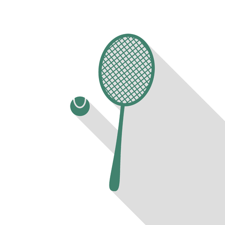 handled: Tennis racquet sign. Veridian icon with flat style shadow path.