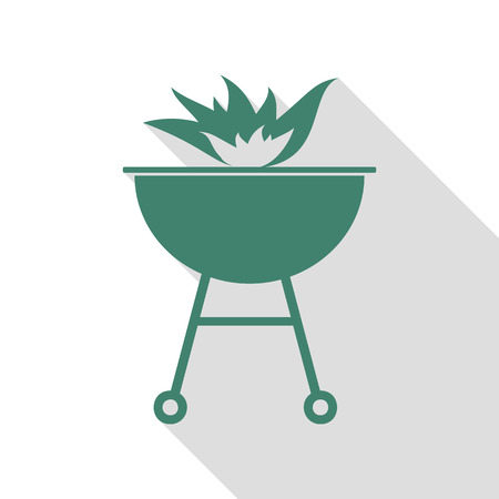 Barbecue with fire sign. Veridian icon with flat style shadow path.