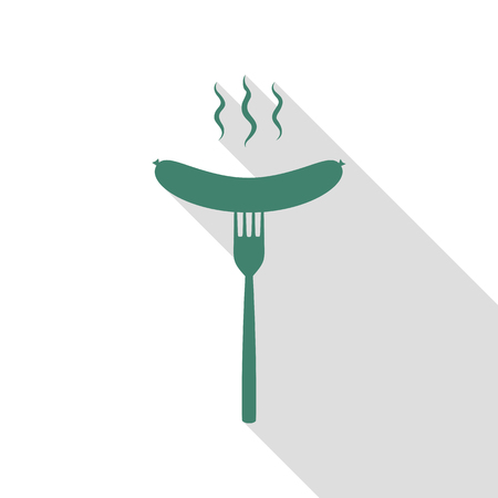 Sausage on fork sign. Veridian icon with flat style shadow path.