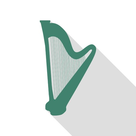 Musical instrument harp sign. Veridian icon with flat style shadow path.