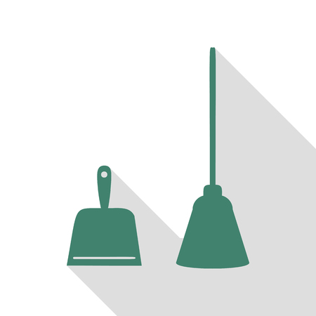 whisk broom: Dustpan vector sign. Scoop for cleaning garbage housework dustpan equipment. Veridian icon with flat style shadow path.