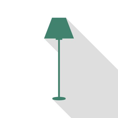 Lamp simple sign. Veridian icon with flat style shadow path. Иллюстрация