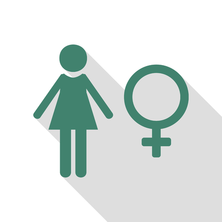 Female sign illustration. Veridian icon with flat style shadow path. Illustration