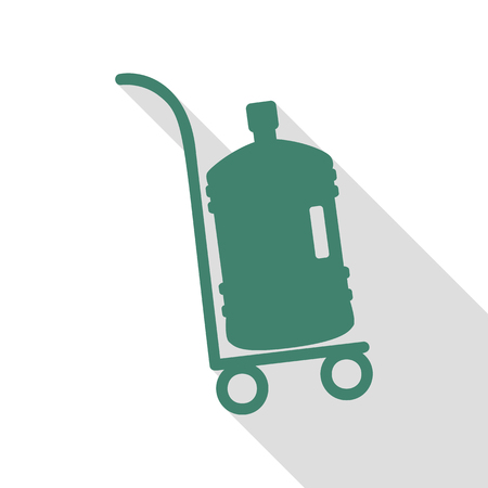 Plastic bottle silhouette with water. Big bottle of water on track. Veridian icon with flat style shadow path. Illustration