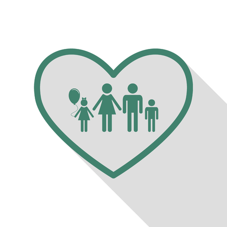 siloette: Family sign illustration in heart shape. Veridian icon with flat style shadow path. Illustration