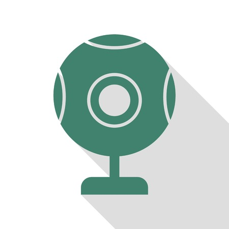 Chat web camera sign. Veridian icon with flat style shadow path.