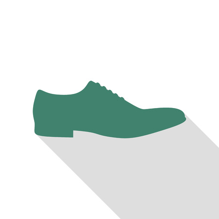 foot gear: Men Shoes sign. Veridian icon with flat style shadow path.
