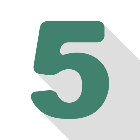 Number 5 sign design template element. Veridian icon with flat style shadow path. Illustration