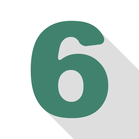 Number 6 sign design template element. Veridian icon with flat style shadow path.