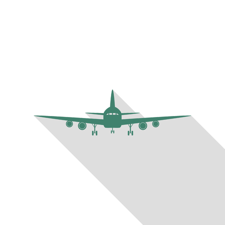Flying Plane sign. Front view. Veridian icon with flat style shadow path. Illustration