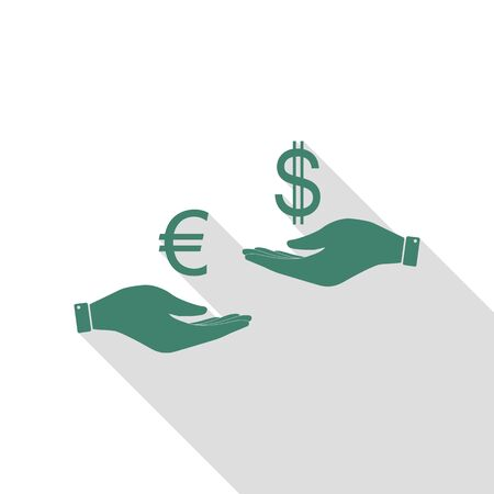 Currency exchange from hand to hand. Euro and Dollar. Veridian icon with flat style shadow path.