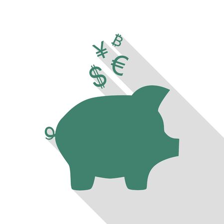 Piggy bank sign with the currencies. Veridian icon with flat style shadow path.