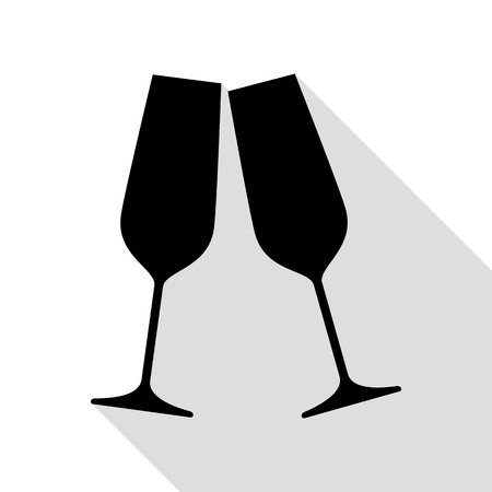 Sparkling champagne glasses. Black icon with flat style shadow path.