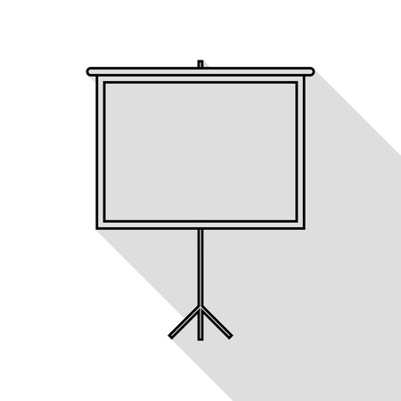 flat screen: Blank Projection screen. Black icon with flat style shadow path. Illustration