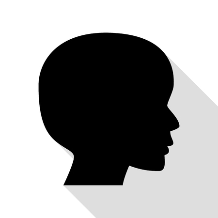 black people: People head sign. Black icon with flat style shadow path.