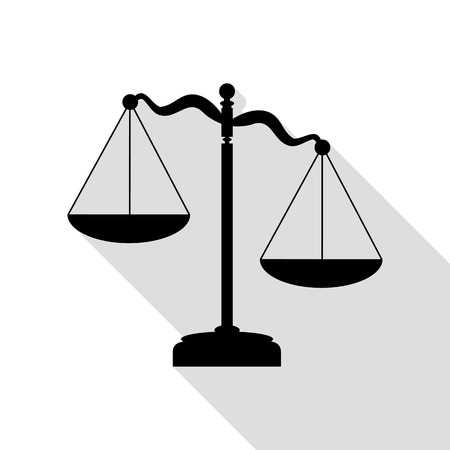 Scales of Justice sign. Black icon with flat style shadow path. Illustration