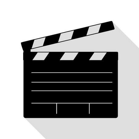 flick: Film clap board cinema sign. Black icon with flat style shadow path. Illustration