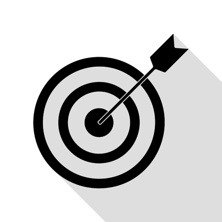 Target with dart. Black icon with flat style shadow path. Illustration