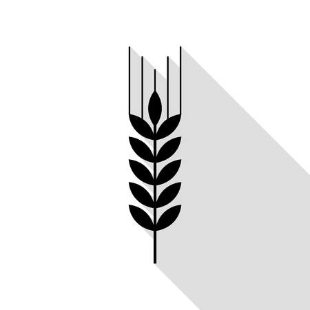 Wheat sign illustration. Black icon with flat style shadow path. Illustration
