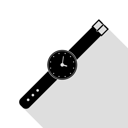 Watch sign illustration. Black icon with flat style shadow path. Illustration