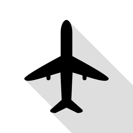 Airplane sign illustration. Black icon with flat style shadow path.
