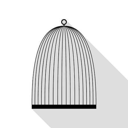 Bird cage sign. Black icon with flat style shadow path.