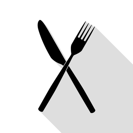 Fork and Knife sign. Black icon with flat style shadow path. Illustration