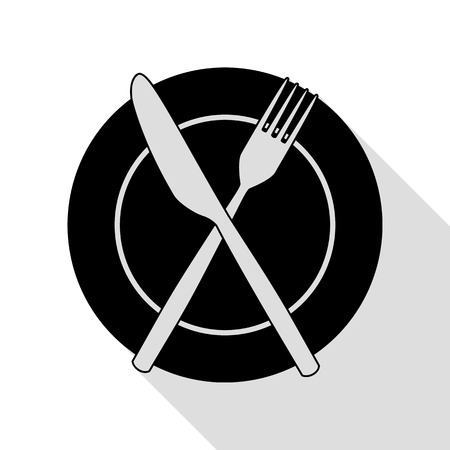 Fork, tape and Knife sign. Black icon with flat style shadow path.