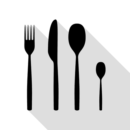 Fork spoon and knife sign. Black icon with flat style shadow path.
