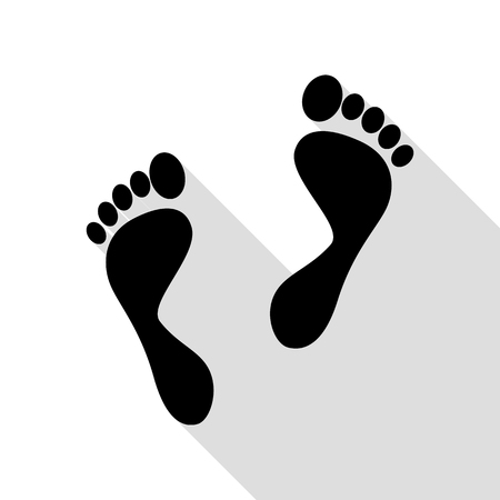 alibi: Foot prints sign. Black icon with flat style shadow path.