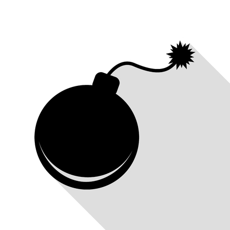 heavy risk: Bomb sign illustration. Black icon with flat style shadow path.