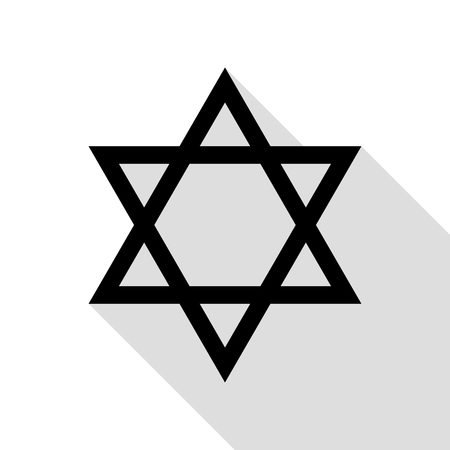 Shield Magen David Star. Symbol of Israel. Black icon with flat style shadow path. Illustration