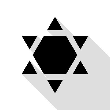 inverse: Shield Magen David Star Inverse. Symbol of Israel inverted. Black icon with flat style shadow path.