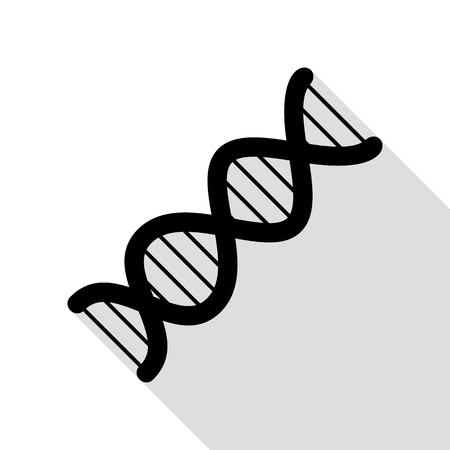 The DNA sign. Black icon with flat style shadow path. Illustration