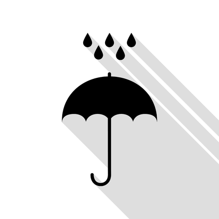 Umbrella with water drops. Rain protection symbol. Flat design style. Black icon with flat style shadow path.
