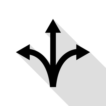 Three-way direction arrow sign. Black icon with flat style shadow path.