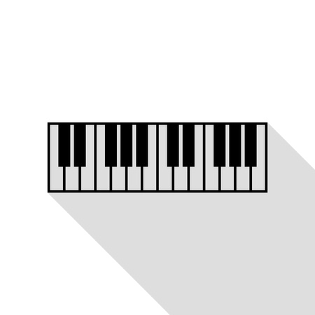 Piano Keyboard sign. Black icon with flat style shadow path.