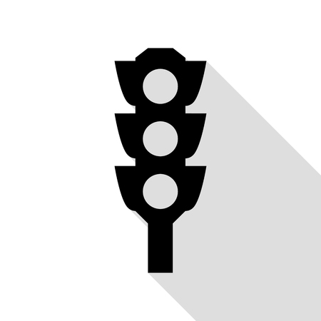 trafficlight: Traffic light sign. Black icon with flat style shadow path.