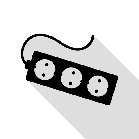 Electric extension plug sign. Black icon with flat style shadow path. Illustration
