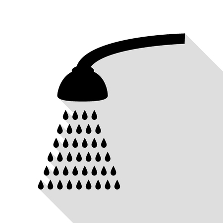 Shower simple sign. Black icon with flat style shadow path. Illustration