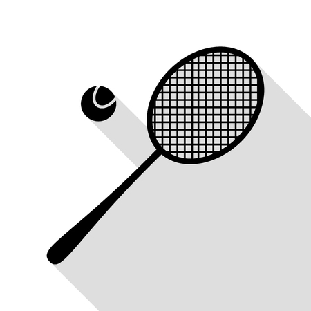 stretch: Tennis racquet sign. Black icon with flat style shadow path.