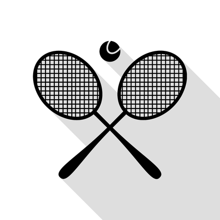 Tennis racket sign. Black icon with flat style shadow path.