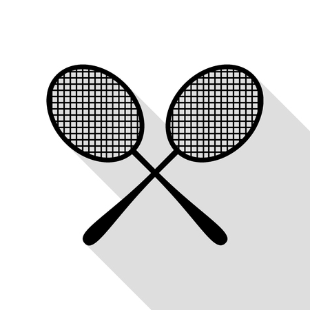 Tennis racquets sign. Black icon with flat style shadow path. Illustration