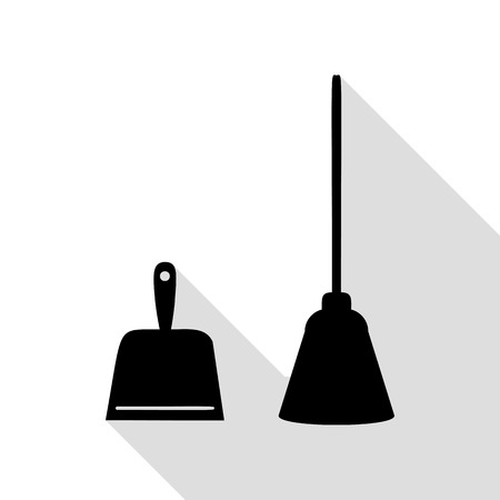 whisk broom: Dustpan vector sign. Scoop for cleaning garbage housework dustpan equipment. Black icon with flat style shadow path.