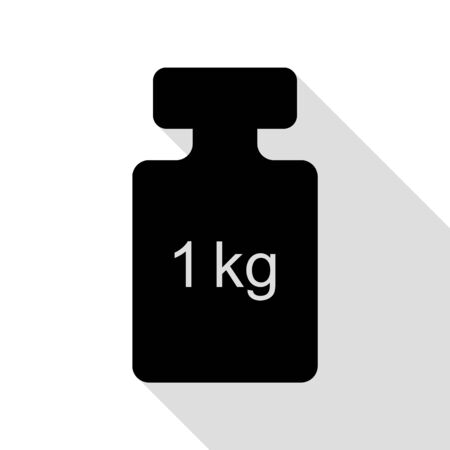 Weight simple sign. Black icon with flat style shadow path.