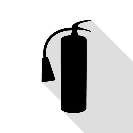 flammability: Fire extinguisher sign. Black icon with flat style shadow path.