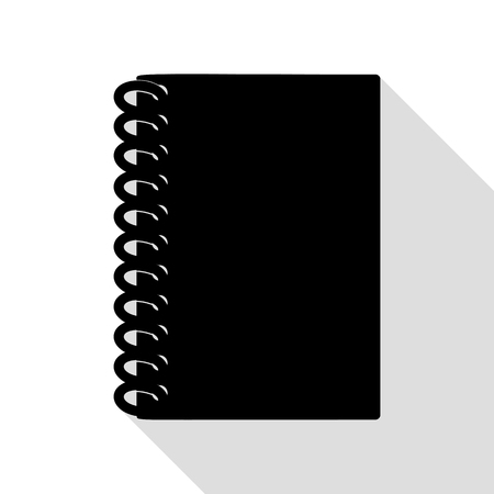 writing pad: Notebook simple sign. Black icon with flat style shadow path. Illustration
