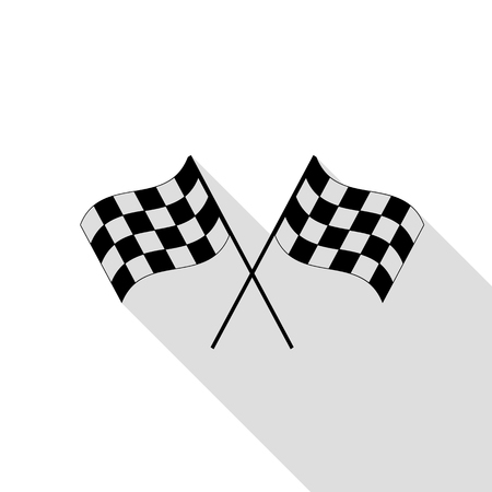 Crossed checker flags  waving in the wind conceptual of motor sport. Black icon with flat style shadow path. Illustration