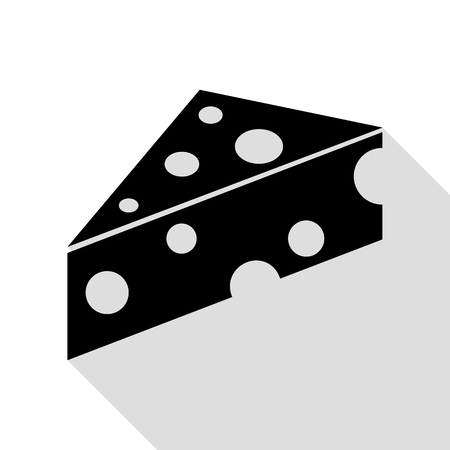 cheez: Cheese Maasdam sign. Black icon with flat style shadow path.