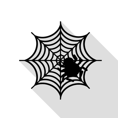 Spider on web illustration Black icon with flat style shadow path. Illustration